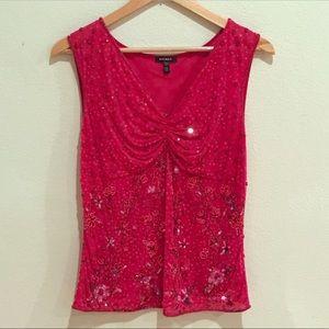 Escada Pink Sequin Sparkle Sleeveless Blouse